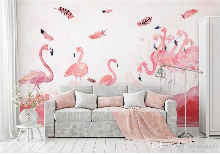 3d flamingo foto mural de parede para sala de estar loja de café papel de parede paisagem papel de parede papel de parede pared papéis de parede decoração da casa