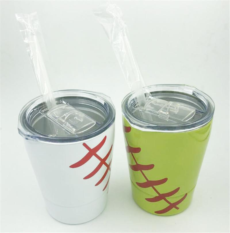 9oz Baseball Cup wine glasses Stainless Steel Tumblers Travel Vehicle Beer Mug non-Vacuum mugs with straws lids Kids Cups
