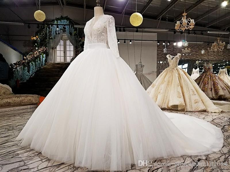 11173b16bd1 ZYLLGF Lace Tulle Wedding Dresses Ball Gown V Neck Vintage Long Sleeves Bridal  Dresses Casamento De Vestidos Puffy Wedding Gown With Pearls