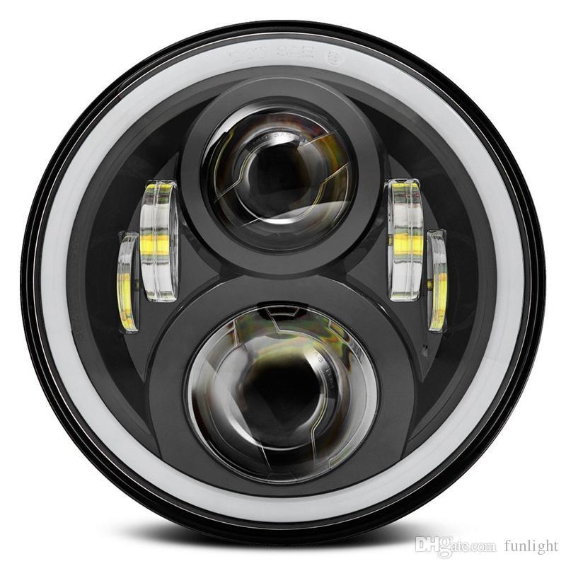 Linterna redonda de 7 pulgadas de la motocicleta LED para Harley DRL con luces blancas de Halo Angel Eyes H4 LED de la motocicleta para Harley Chopper
