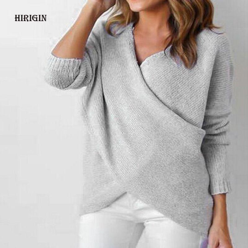 a6d7100cdf5a2 HIRIGIN 2017 Womens Long Sleeve Sweater Winter Pullover Solid ...