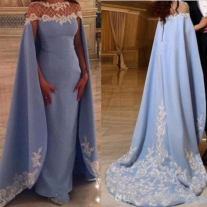 714ed020c092 Acquista Abiti Da Sera 2018 Jewel Neck Illusion Maniche Lunghe Con  Mantelline Blue Sky Beads White Lace Appliques Formal Dubai Abaya Party  Dress Prom Gown A ...