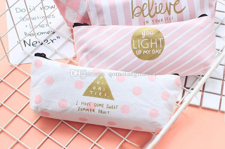 Attractive design student pen bag school pencil case delicate canvas pencil bag
