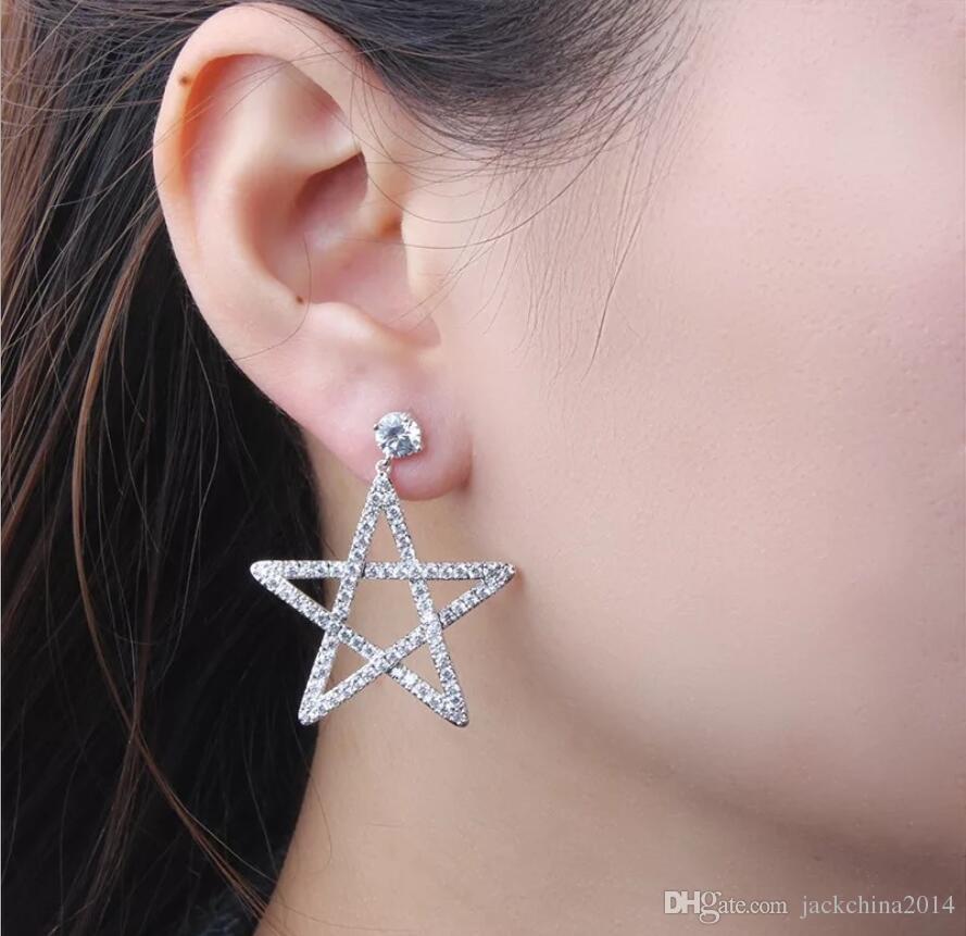 Victoria Brand New Sparkling Luxury Jewelry Pendiente de gota de plata de ley 925 5A Cubic Zirconia Pendiente de la estrella cuelga los pendientes para las mujeres regalo