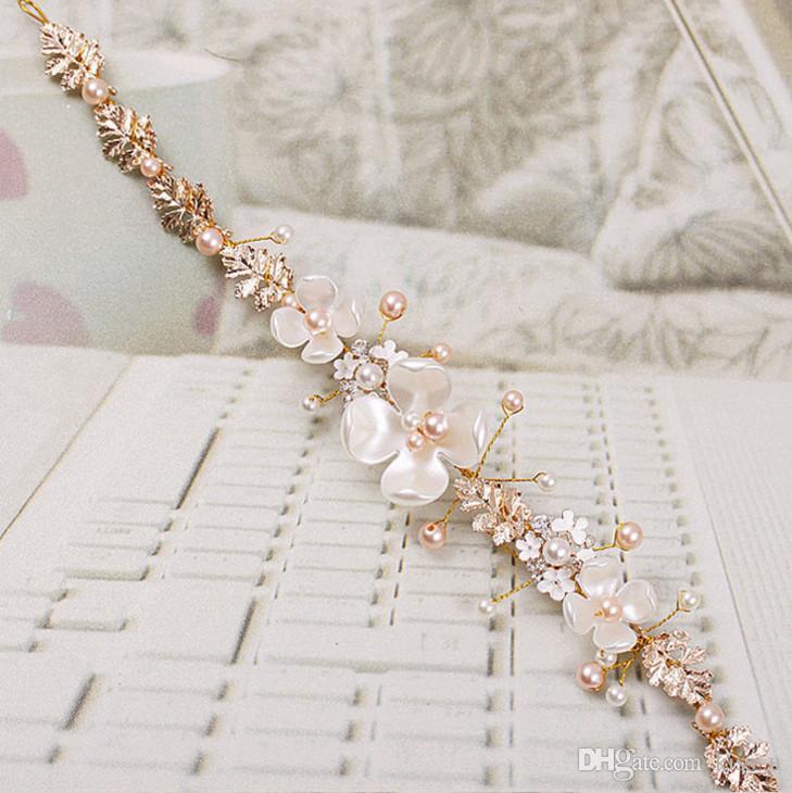 2018 Bridal Flower Faux Pearl Rhinestone Wedding Headband Hair Clip Tiara Accessories HairPin Tiara Bridal Crown Hair Pins Bride Hair Jewelr