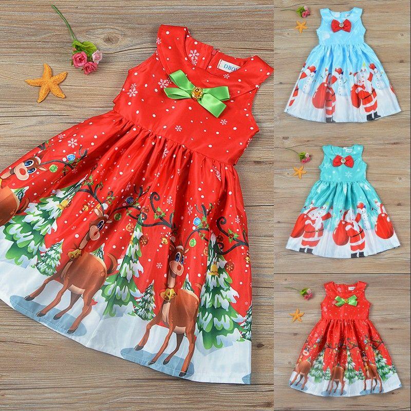 3646b793f 2019 Christmas Serie Baby Girl S Dress Cartoon Milu Deer Pattern ...