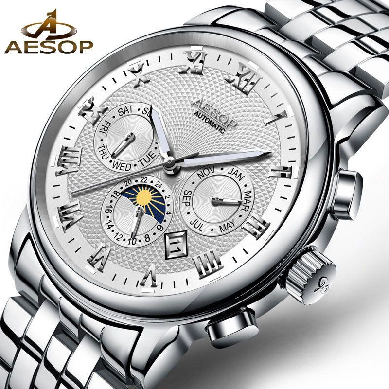 32b02d23e42 Compre Aesop Relógios Mecânicos Marca De Luxo Homens Relógio Masculino  Automático De Relógios De Pulso Semana Calendário Relógio Homem À Prova D   Água ...