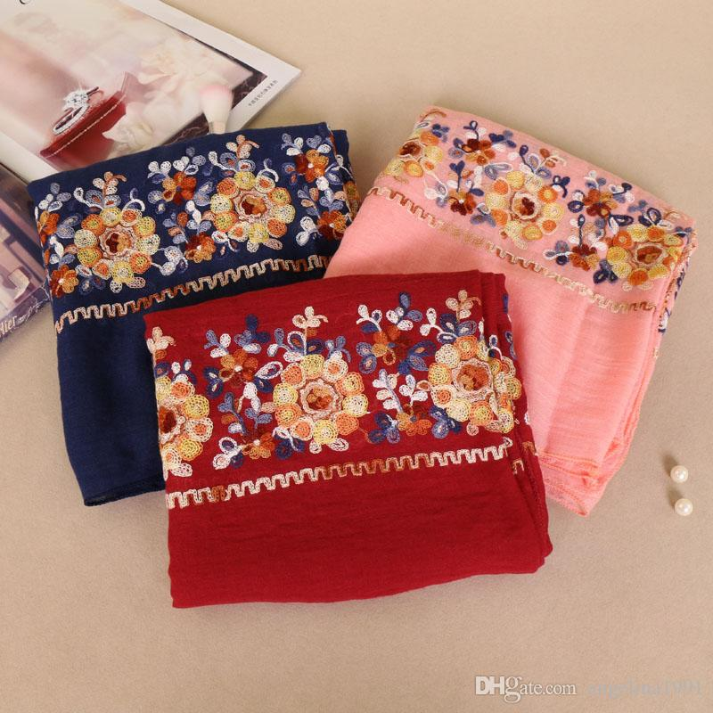 Lavel Women Luxury double row embroider cotton floral shawls hijab muslim wrap headband bandelet scarves/scarf 180*90cm