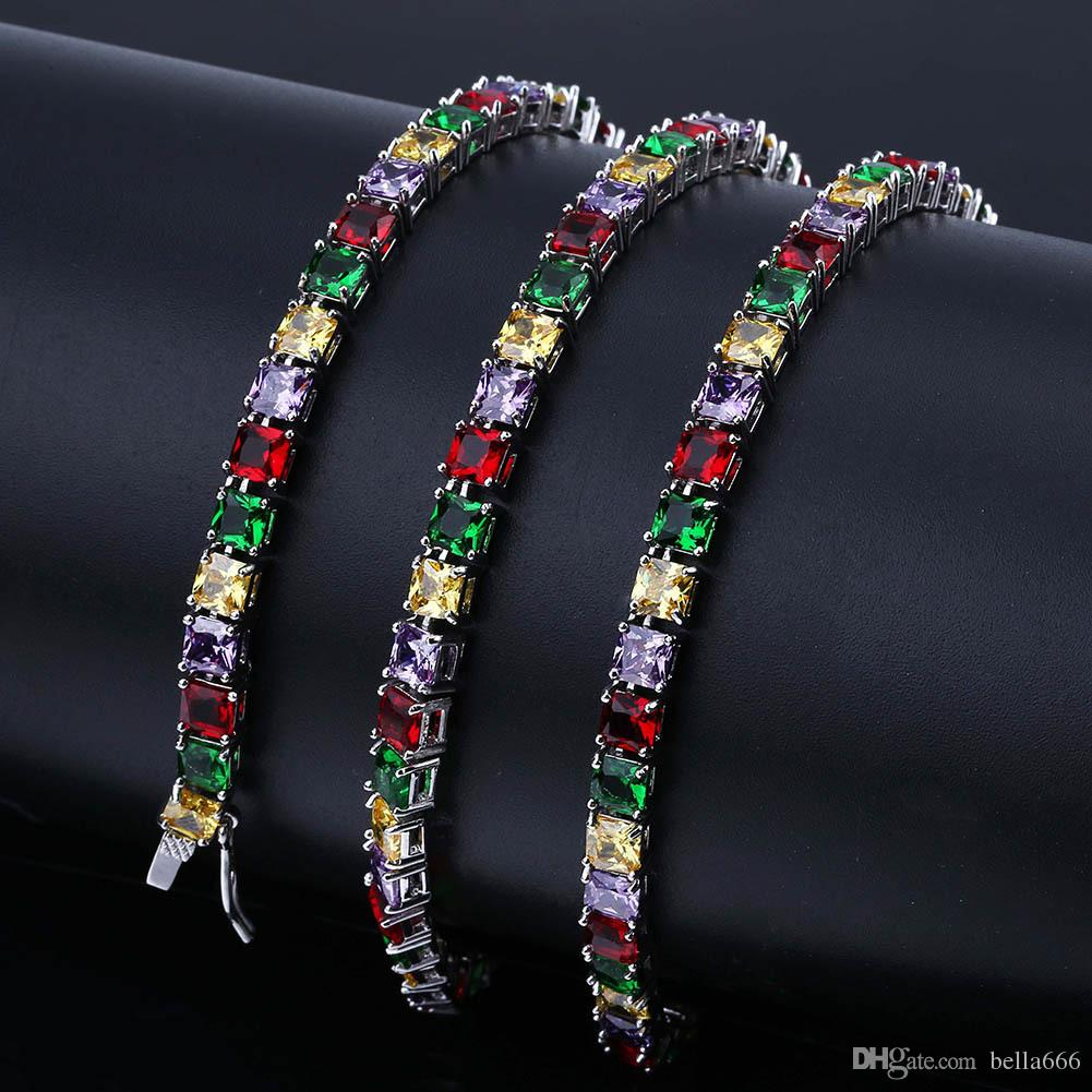 New Custom Men's Hip Hop Colorful CZ Tennis Chain Handmade Paved Square Micro Cubic Zirconia Necklace Rapper Jewelry Gifts 18inch 24inch