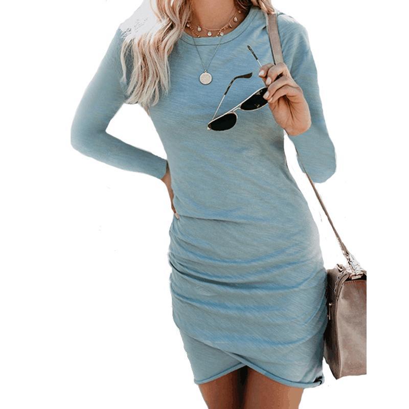 reputable site 28148 48887 Discount Fashion Sexy Kleider Frauen 2018 Herbst und Winter Sexy  Unregelmäßige Langärmelige Tasche Hüfte Kleid Vestidos Baumwolle Mini Party  Dress