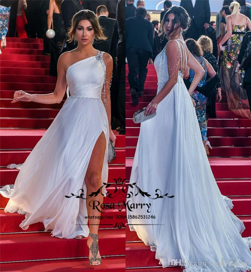 29b5dc0b77 2018 Red Carpet Celebrity Evening Dresses A Line One Shoulder High Split  Crystal Beaded Plus Size Long Chiffon Arabic African Prom Gowns Elegant  Long ...