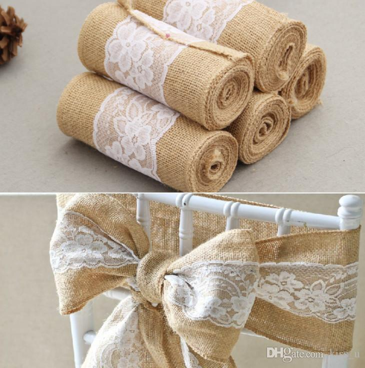 1PC New15*240cm Vintage Imitate Jute Linen With White Lace Chair Bow Tie Sash For Wedding Festival Party Decoration