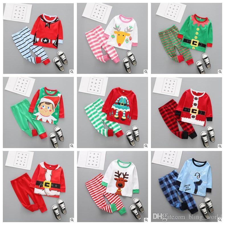 1ab2dab26 2019 Ins Baby Clothes Set Kids Christmas Sleepwear Boy Girls Pajamas ...