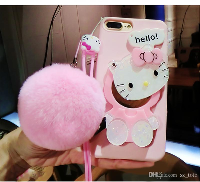 more photos 7fc70 0d72e YunRT Cute 3D Hello Kitty Cat Cartoon with Fur Ball Mirror Soft TPU Back  Cover Makeup Phone Cases