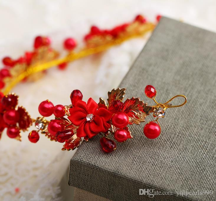Vestido de boda del ornamento de la cabeza de flor roja de la boda