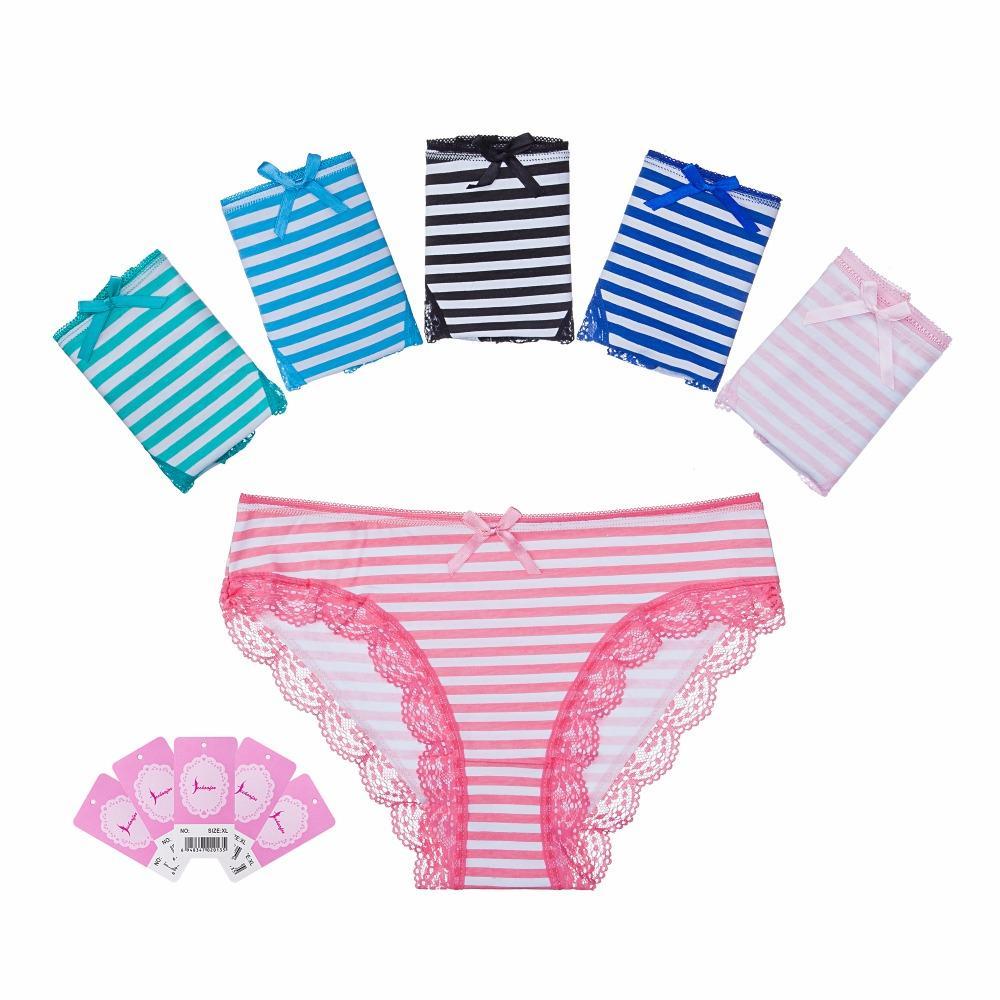 d7435076e77 Feehoofox 5 Pieces Lot Women s Underwear Cotton Sexy Lace Panties Everyday  Briefs Lingerie Girls Ladies Knickers for Women