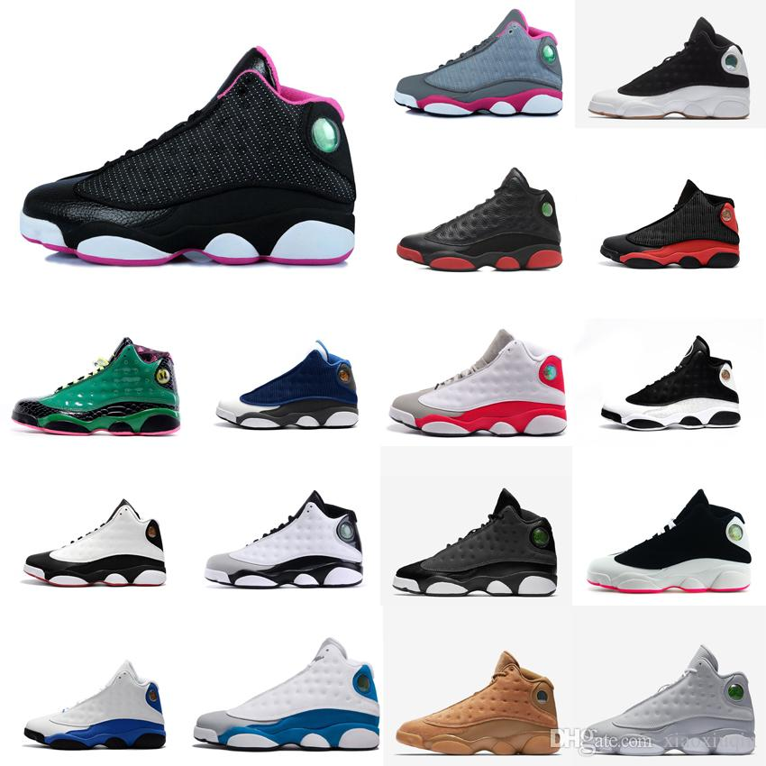 Womens Retro 13s Basketball Shoes For Sale Barons Bred Black White Blue Pin  Grey Boys Girls Youth Kids Aj13 Jumpman XIII Sneakers With Box UK 2019 From  ... d3930d329b