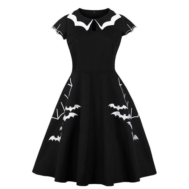 63177f12175 Acheter Robe Noire Femmes Halloween Bat Broderie Punk Robes De Soirée  Gothique Robe Vêtements Big Swing Vestidos 5XL 4XL Plus La Taille De  31.7  Du Lemon888 ...