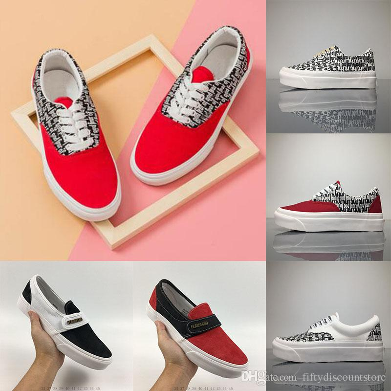 2018 Old Skool Fear of God x Sneakers Women Men Low Cut Era Casual Shoes Fashion Red lovers Canvas Designer Brand Sneakers 35-44 with mastercard for sale pictures Bjlj0tO0