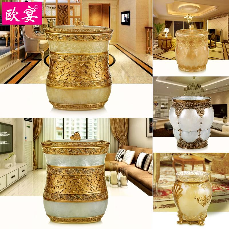 European household kitchen garbage can living room kitchen bedroom bucket bucket with a large round cover