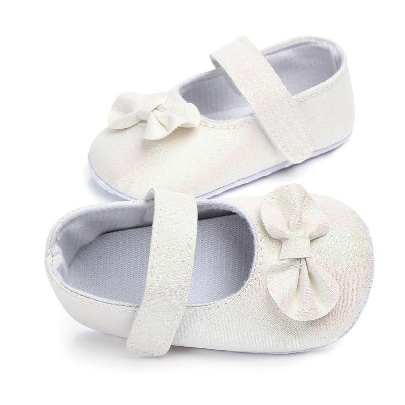 6b85ee37ab7ec Acheter Toddler Nouveau Né Bébé Fille Paillettes Brillantes Chaussures De Berceau  Semelle Souple Anti Slip Coton Arc PU Princesse Berceau Chaussures ...
