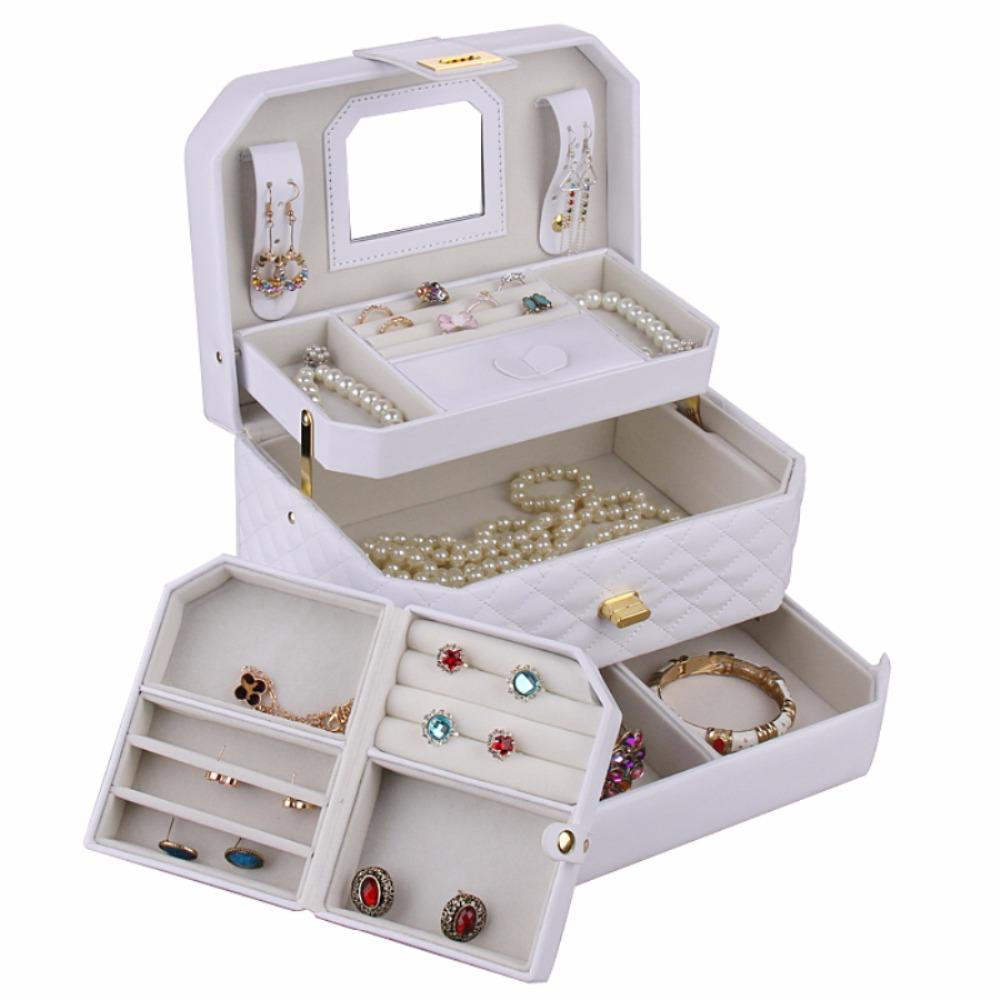 ROWLING Fashion Portable White Jewelry Box Gift Jewellery Case Mirror Necklace Holder Leather Bracelet Organizer W/Travel Case