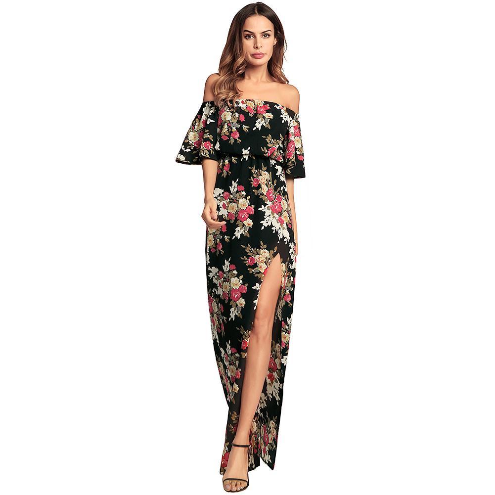 9d05804a084 Sexy Women Maxi Chiffon Dress Floral Print High Split Off The Shoulder  Beach Dress Slash Neck Sundress Long Boho Dress Black Plus Size Dress Modest  Dresses ...