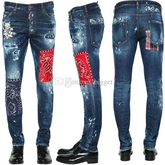 e4c49a999b 2019 Patchwork Jeans Cool Guy Man Italy Luxury Floral Patch Painted  Distressed Fading Slim Fit Blue Denim Pants From Bigget