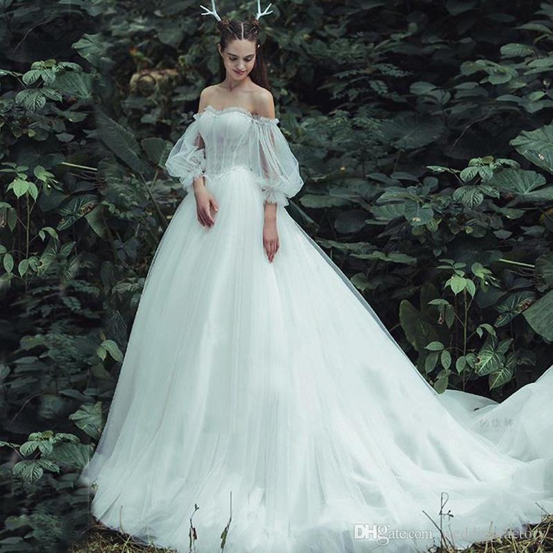 Fairy Wedding Dress.Princess Fairy Wedding Dresses Sweetheart Off The Shoulder Ruched Tulle Lace Appliques Country Bridal Gowns Sweep Train Illusion Sleeves
