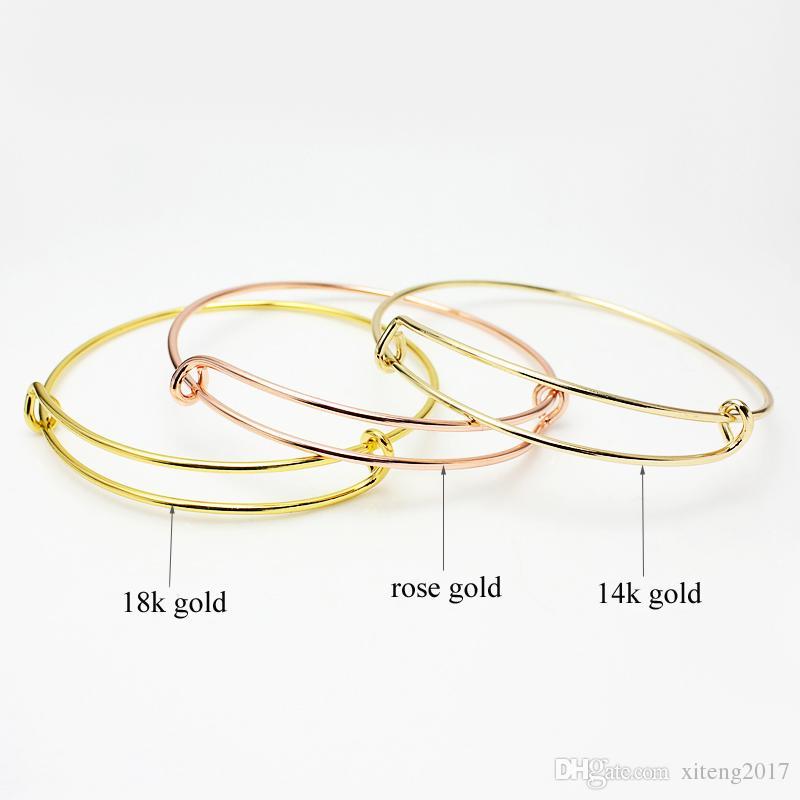 Nuovi braccialetti espandibili del braccialetto del cavo di modo monili placcati del braccialetto di fascino del braccialetto del braccialetto di dimensione selezionabile dei monili di dimensione all'ingrosso