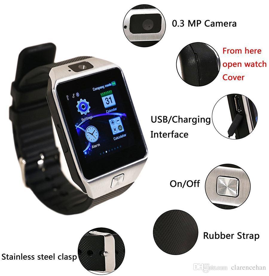 da2ac7a3e92 GZDL Bluetooth Relógio Inteligente Atualizado DZ09 Smartwatch Assista  Telefone Suporte SIM Cartão TF com Câmera para Android IOS iPhone Samsung  LG telefones