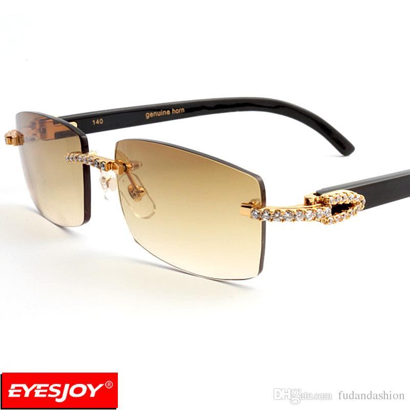 fea3aa7162c0 Brand-new Black Buffalo Horn Sunglasses Rimless Diamonds Sunglasses for Men  KQ01