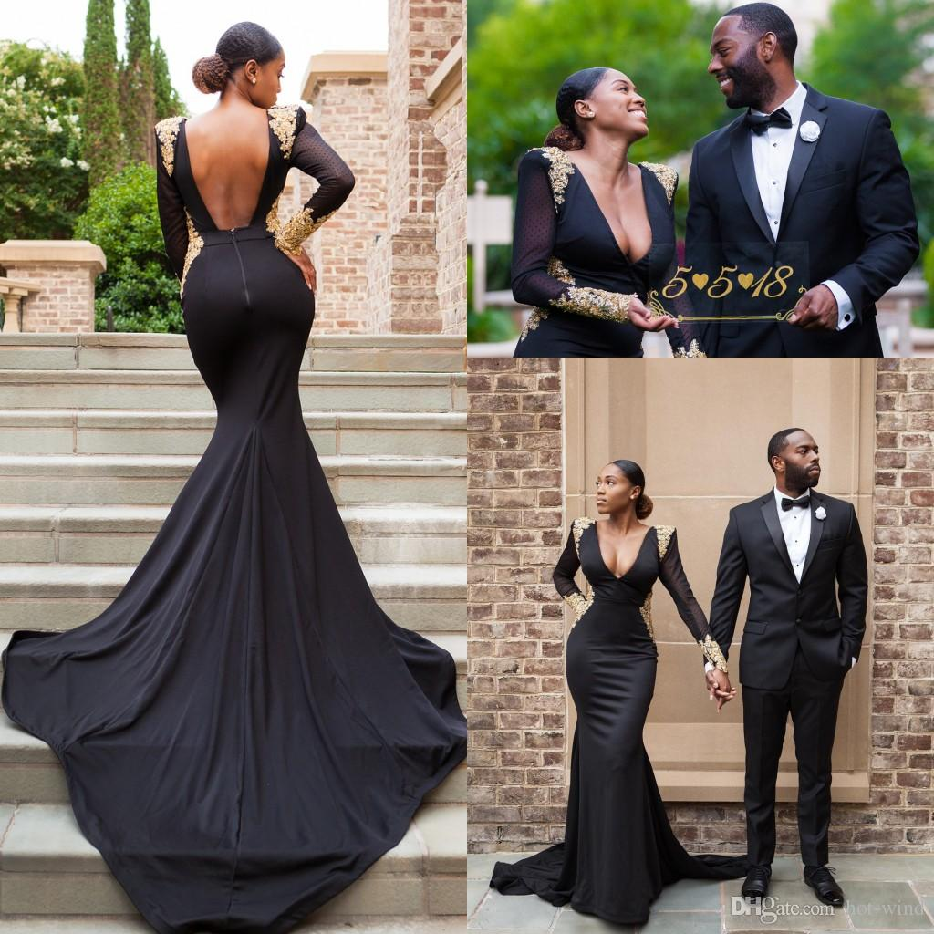 2018 new arabic sexy black deep v neck mermaid prom dresses sheer