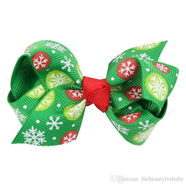 8cm 3 Inch Kid Fashion Boutique Hair Clip Hair Accessories Grosgrain Ribbon Christmas Bows With Clips for Christmas day