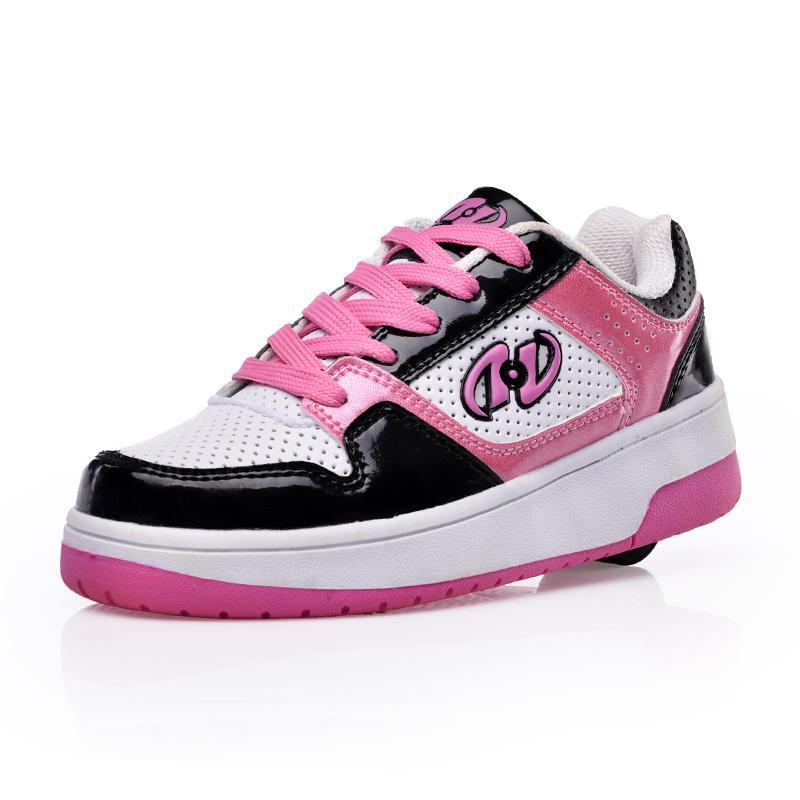 finest selection f8a56 d8d3d Scarpe per bambini con ruote Scarpe stringate per bambini Fashion Sneakers  PU Leather Girls Boys Scarpe sportive casual traspiranti