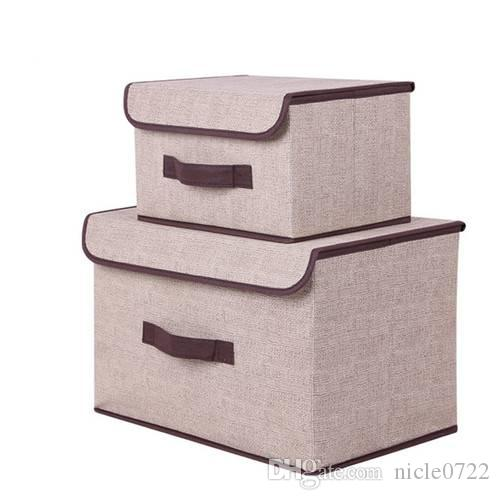 Bon Best Clothing Storage Box Clothing Toys Organizer With Cap Cotton And Linen  2 Size Socks Books Sundries Box Set Storage Organizador Under $20.61 |  Dhgate.