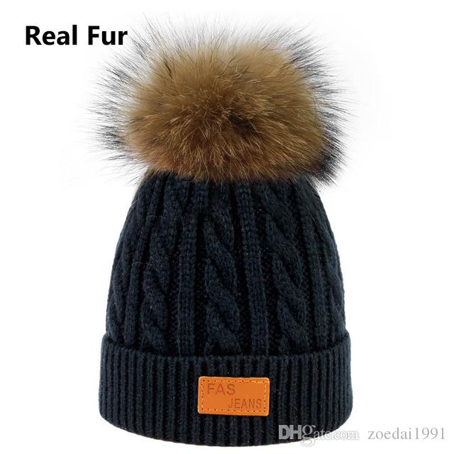 51025650479074 2019 New Children'S Fur Hats Baby Boy Girl Winter Ball Knit Raccoon Fur Ball  Caps Winter Beanies Warm And Comfortable Slouchy From Zoedai1991, ...