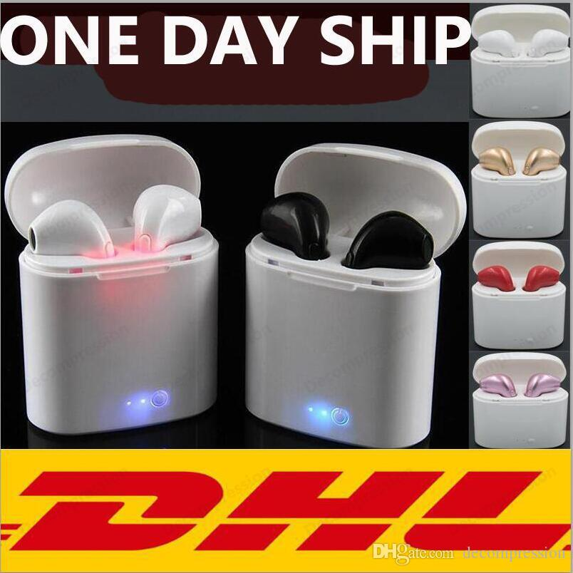 I7S TWS Twins Bluetooth headphones wireless Earbuds Mini Wireless Earphones Headset headphones with Mic Stereo DHL