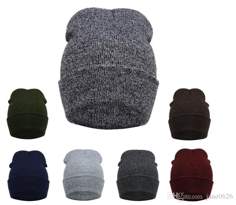 cc79848c5 Men and Women Knitted Cap Winter Warm Stretchy Slouchy Beanie Skully Caps 7  COLORS free shipping