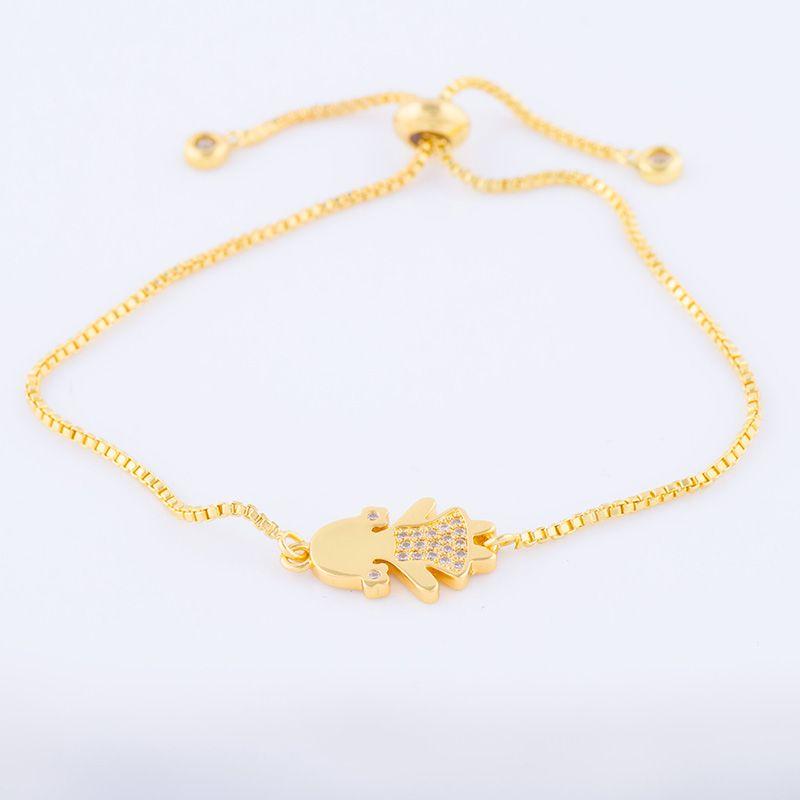 Wholesale Handmade DIY Jewelry Accessories Lovely Zircon Kids Girl Charm Adjustable Slide Copper Bracelets Vintage Bijoux Pulseras Fitting