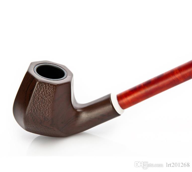 Grão de madeira marrom resina tubo preto fumaça vara trombone haste longa tubo conjunto de fumar