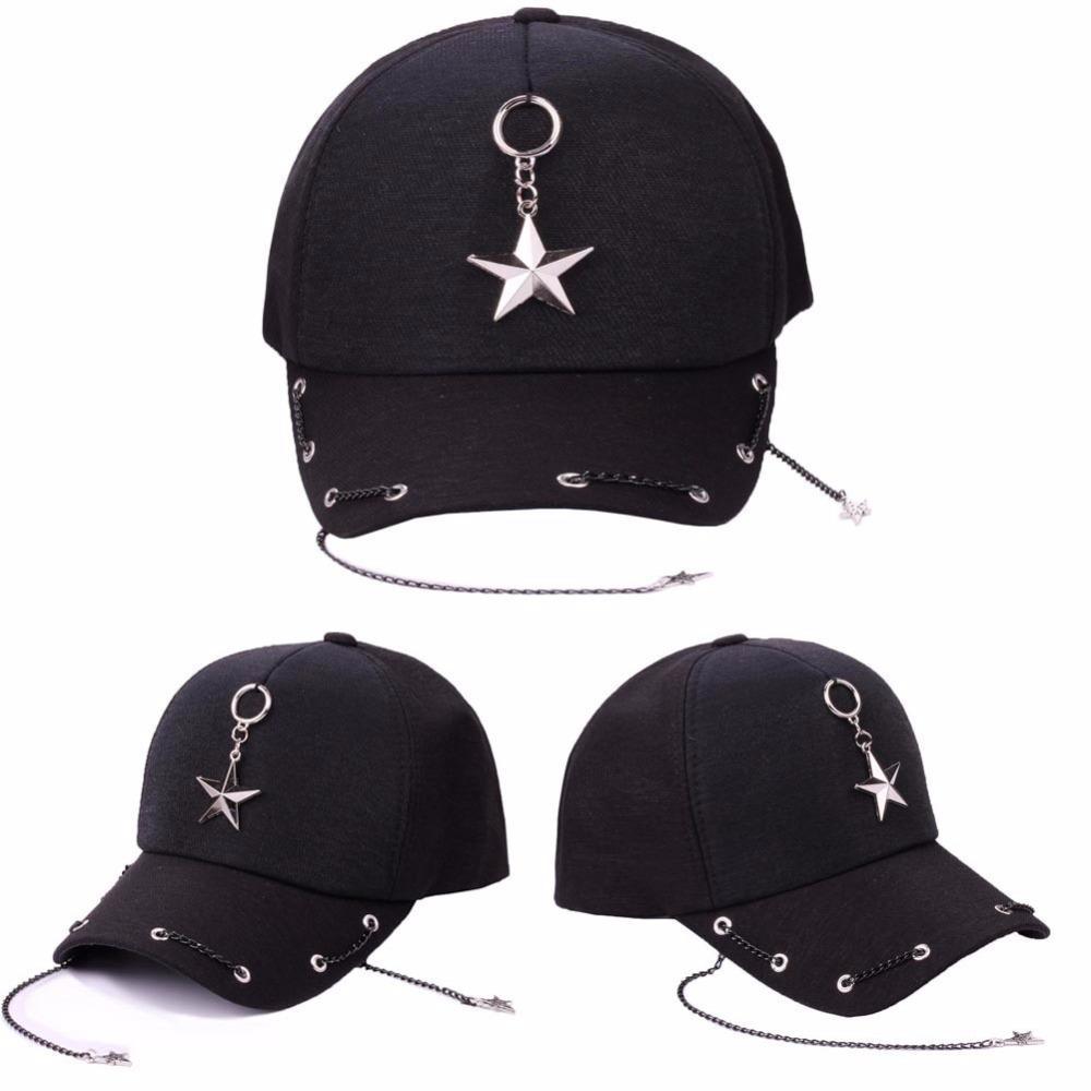 722c757d086 New Punk Hip Hop Cap Hats Rock Metal Chain Star Baseball Cap Hats For Women  Men Lover Adjustable Snapback Caps Casual Street Hat Snapback Caps Fitted  Hats ...