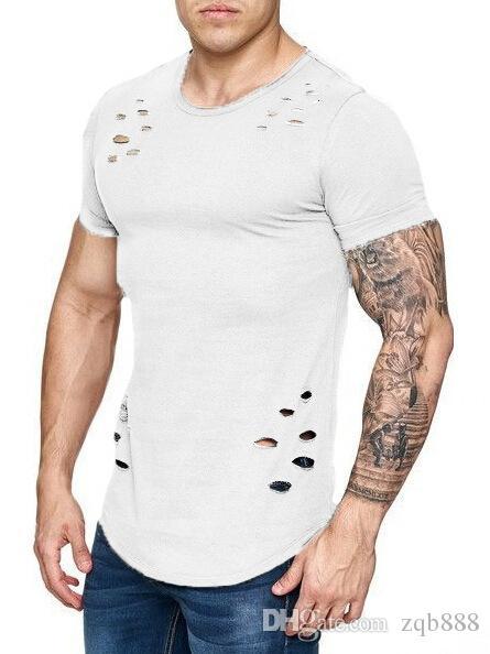 2018 новые мужские свободные и чистые цвета футболки отверстие большой код, Mn и женщины того же стиля