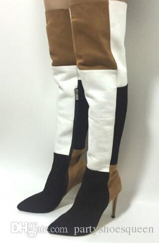 2018 Mais Recentes Mulheres Moda Cor Misturada Over-The-Joelho Dedo Apontado Botas Longas Primavera Lado Com Zíper Deslizamento Em Sapatos de Salto Alto Navio Livre