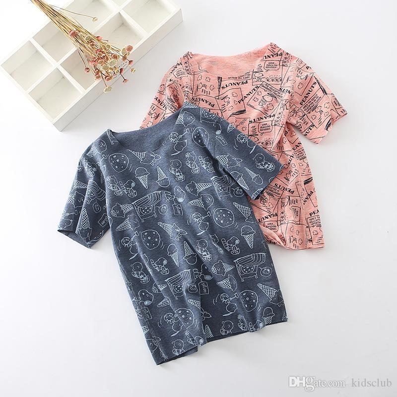 Explosion Models Summer Casual Style Cute Fashion Cartoon Print Abstract Letter Pattern Korean Short sleeve Men and Women Children T-shirt