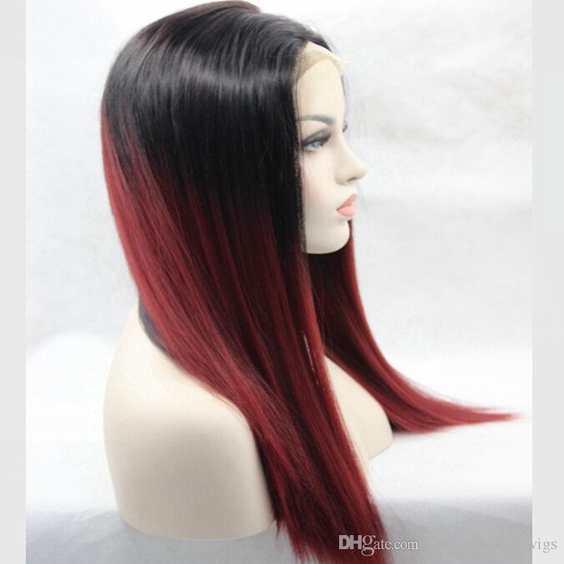 дешевые синтетические парики шнурка прямые Афро-Американский парик средней части натурального волосяного покрова темные корни Бордовый Темно-красный ломбер волос