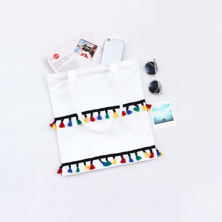 White/black Color tassel Canvas Shopping Bag Large Capacity Tote Bag Environmental Protection Women Shoulder Messenger Bags