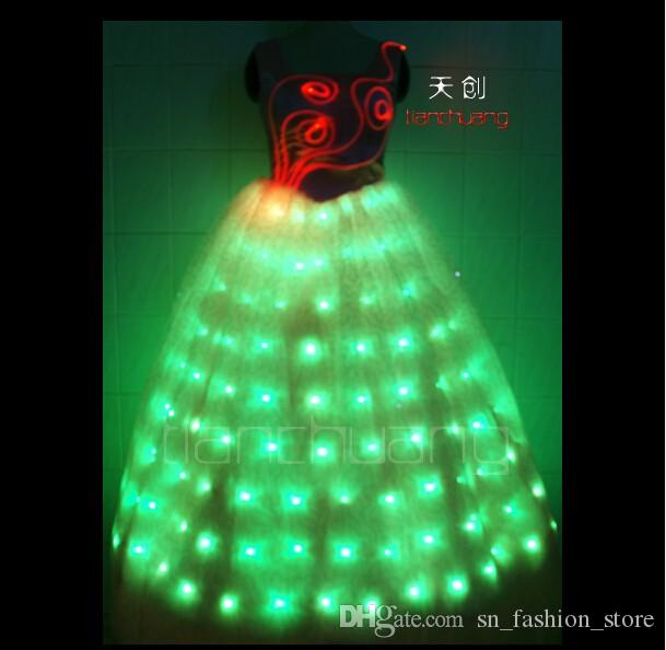TC-49 Light LED colorful costumes Full color bar dj cloth skirt wear programming design LED ballroom dance led women sexy performance dress