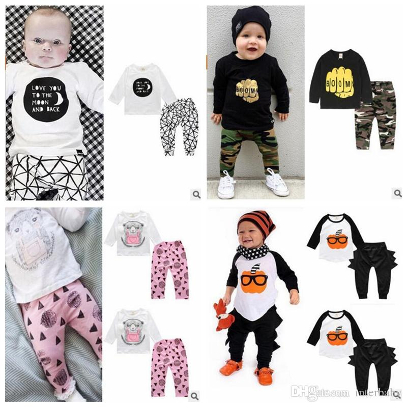 bca47ef8eddb 2019 Designer Baby Clothes Boy Fox Striped LetterSet Toddler Long Sleeved  Tops Pants Suits Girls Casual Clothes Suit Kids Clothing Sets YL144 1 From  ...