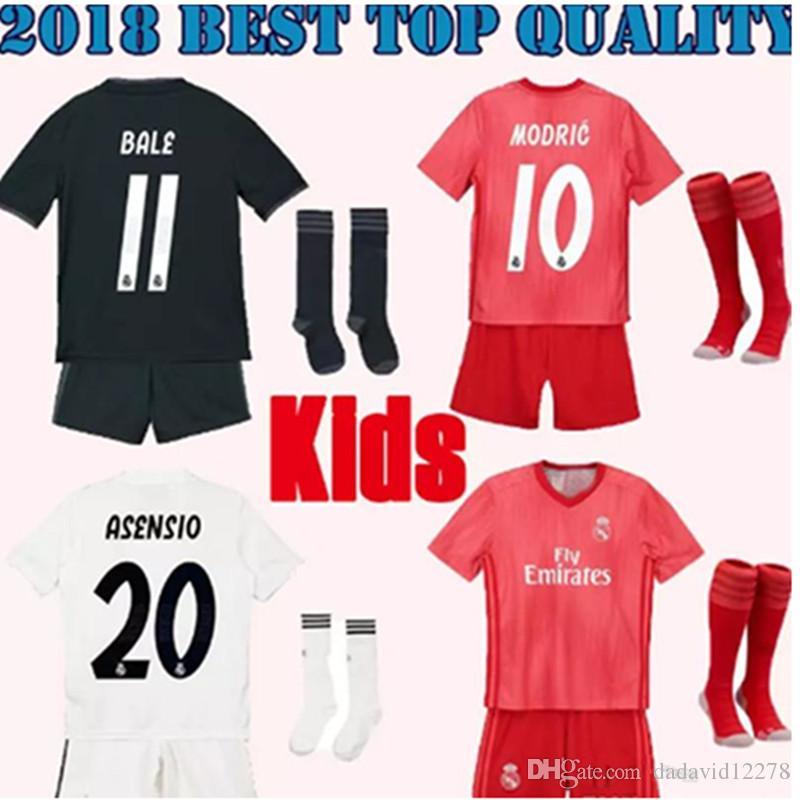 570f06e8c Großhandel 2019 Kids Kit Real Madrid Fußball Trikot 2018 19 Home Weiß Weg  Jungen Fußball Trikots ISCO ASENSIO BALE KROOS Kind 3.